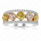 1.89 Carat Fancy Colored Diamond Ring in 18K Three-Tone Gold