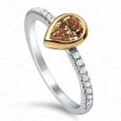 0.71 Carat Pear Shape Fancy Brown Yellow Diamond Ring in 18K Two-Tone Gold