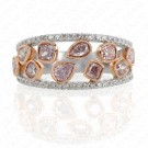 1.40 Carat Fancy Purplish Pink Diamond Ring in 18K Two-Tone Gold