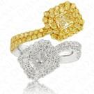 2.75 Carat White Diamond and Fancy Light Yellow Diamond Ring in Platinum/18K Gold