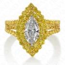 2.15 Carat White Diamond and Fancy Vivid Yellow Diamond Ring in 18K Yellow Gold