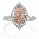 1.47 Carat Fancy Brown-Pink Diamond Ring in 18K Two-Tone Gold