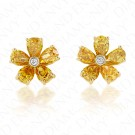 1.46 Carat Fancy Colored Diamond Earrings in 18K Yellow Gold