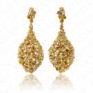 27.98 Carat Fancy Yellow Diamond Earrings in 18K Two-Tone Gold
