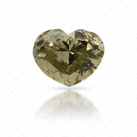 0.70 Carat Heart Shape Natural Fancy Grey-Yellowish Green Diamond