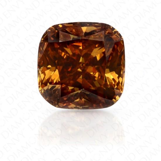 0.42 Carat Cushion Fancy Deep Yellow Orange Diamond