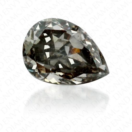 0.23 Carat Pear Shape Fancy Dark Green Grey Diamond