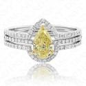 1.17 Carat Fancy Yellow Diamond Ring in 18K Two-Tone Gold