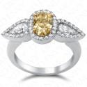 2.07 Carat Fancy Intense Brownish Yellow Diamond Ring in 18K White Gold