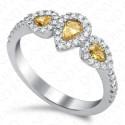 0.90 Carat Fancy Vivid Yellow Diamond Ring in 18K White Gold