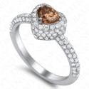 1.33 Carat Fancy Intense Yellowish Brown Diamond Ring in 18K White Gold