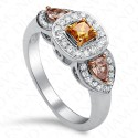 1.19 Carat Three-Stone Fancy Colored Diamond Ring in 18K White Gold