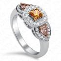 0.93 Carat Fancy Deep Brownish Orangy Yellow Diamond Ring in 18K White Gold