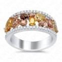 1.66 Carat Fancy Multi-Colored Diamond Ring in 18K Two-Tone Gold