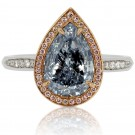 2.30 Carat Fancy Light Blue Diamond Ring in Platinum/18K Gold