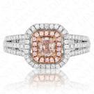 0.84 Carat Light Pinkish Brown Diamond Ring in 18K Two-Tone Gold
