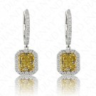 1.84 Carat Fancy Intense Yellow Diamond Earrings in 18K Two-Tone Gold