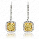 2.15 Carat Fancy Intense Yellow Diamond Earrings in 18K Two-Tone Gold