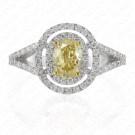 1.57 Carat Fancy Light Yellow Diamond Ring in 18K White Gold