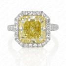 6.85 Carat Fancy Yellow Diamond Ring in Platinum & 18K Gold