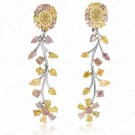 7.52 Carat Fancy Colored Diamond Earrings in 18K Three-Toned Gold