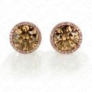 3.96 Carat Fancy Yellow-Brown/Yellowish Brown Diamond Earrings in 18K Two-Tone Gold