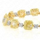 15.44 Carat Fancy Yellow Diamond Bracelet in 18K Two-Tone Gold