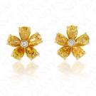 1.46 Carat Fancy Colored Diamond Earrings in 18K Yellow Gold