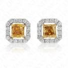 1.25 Carat Fancy Colored Diamond Earrings in 18K Two-Toned Gold