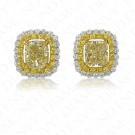 3.09 Carat Fancy Light Yellow Diamond Earrings in 18K Two-Tone Gold