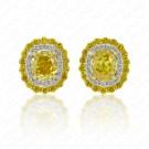0.92 Carat Fancy Vivid Yellow Diamond Earrings in 18K Two-Tone Gold